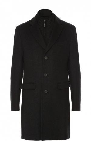 Однобортное пальто из смеси шерсти и кашемира с подстежкой Sand. Цвет: темно-серый