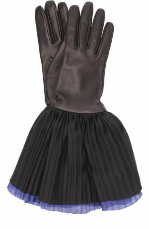 Кожаные перчатки с шелковой плиссированной отделкой Giorgio Armani. Цвет: синий