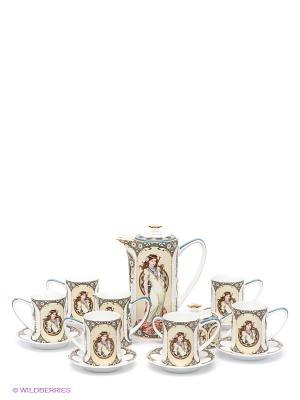 Чайный сервиз Габриэлла Pavone. Цвет: молочный, светло-зеленый