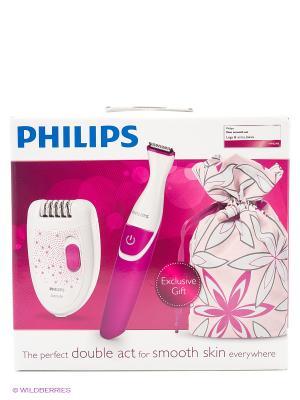 Эпилятор, бикини-триммер Philips HP6548/00. Цвет: розовый