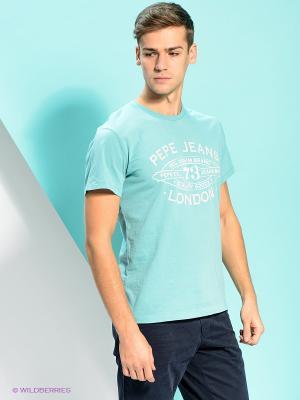 Футболка PEPE JEANS LONDON. Цвет: голубой