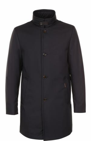 Пуховое пальто на молнии с воротником-стойкой Moorer. Цвет: темно-синий