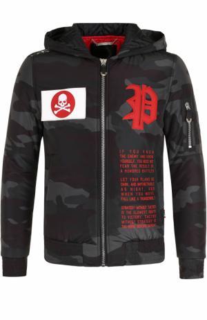 Утепленная куртка на молнии с капюшоном Philipp Plein. Цвет: черный