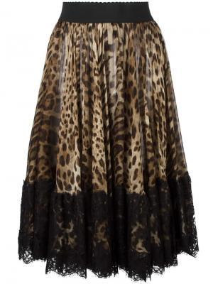 Плиссированная юбка с леопардовым принтом Dolce & Gabbana. Цвет: телесный
