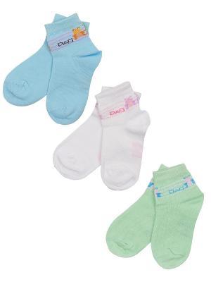 Носки Детские,комплект 3 пары DAG. Цвет: салатовый, белый, голубой