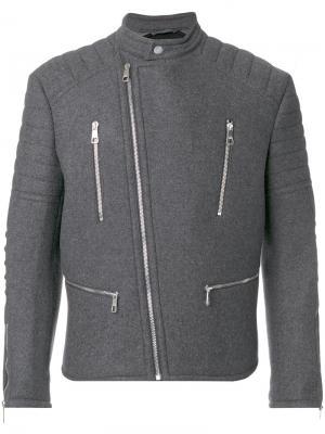 Байкерская куртка Neil Barrett. Цвет: серый