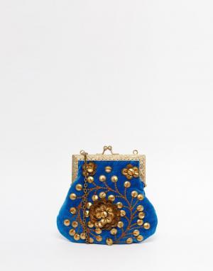 Moyna Бархатный клатч с золотистой отделкой бисером. Цвет: синий