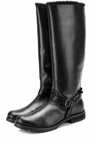 Кожаные сапоги с оборкой и внутренней меховой отделкой Gallucci. Цвет: черный