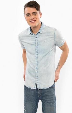 Джинсовая рубашка с короткими рукавами Calvin Klein Jeans. Цвет: синий