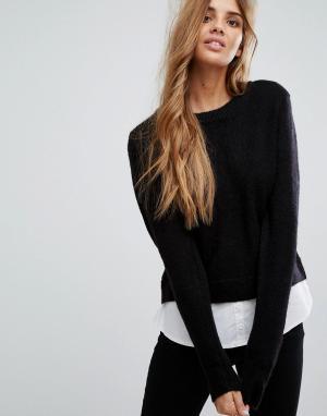 Urban Bliss Джемпер-рубашка 2 в 1. Цвет: черный