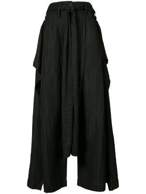 Широкие брюки с драпировкой Barbara I Gongini. Цвет: чёрный