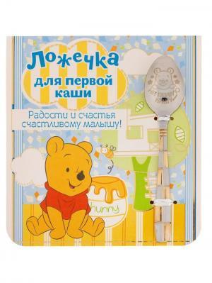 Ложечка детская Для первой каши (малышу), Медвежонок Винни, 2,3 х 11 см Disney. Цвет: серебристый, золотистый