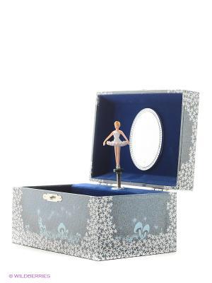 Музыкальная шкатулка с фигуркой в форме прямоугольника Jakos. Цвет: темно-синий, синий, голубой, белый