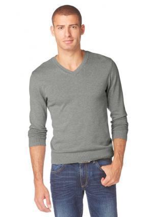 Пуловер JOHN DEVIN. Цвет: светло-серый меланжевый, черный