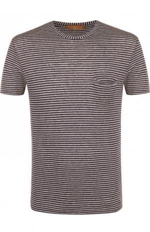 Льняная футболка с круглым вырезом Daniele Fiesoli. Цвет: бежевый
