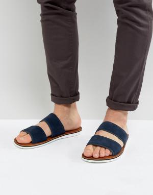 ALDO Замшевые сандалии-слипоны с двумя ремешками Delpizzo. Цвет: темно-синий