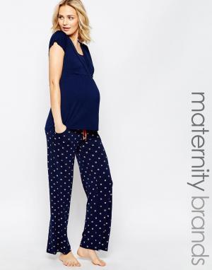 Amoralia Пижамные штаны с карманами. Цвет: темно-синий