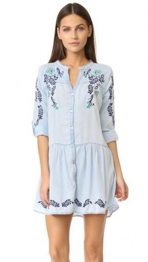 Короткое платье с вышивкой OndadeMar. Цвет: голубой