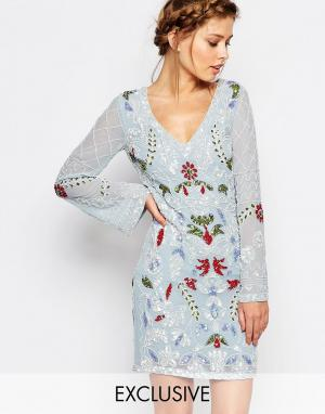 Frock and Frill Платье мини с длинными рукавами и вырезом сзади. Цвет: синий