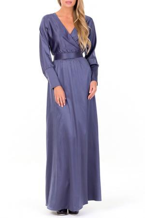 Атласное отрезное платье по талии, вырез-запах, длинные рукава XARIZMAS. Цвет: серый