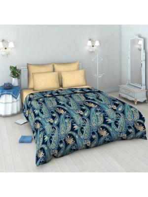 Комплект постельного белья из бязи Евро Василиса. Цвет: синий