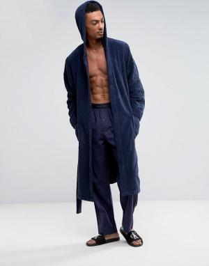 Calvin Klein Махровый халат. Цвет: темно-синий