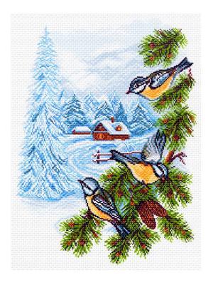 Рисунок на канве Заимка Матренин Посад. Цвет: синий, белый, зеленый