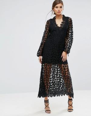 Stevie May Платье макси из кроше с длинными рукавами и отделкой. Цвет: черный