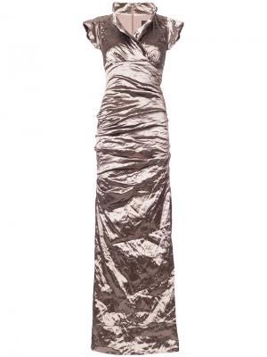 Платье макси со сборками Nicole Miller. Цвет: коричневый