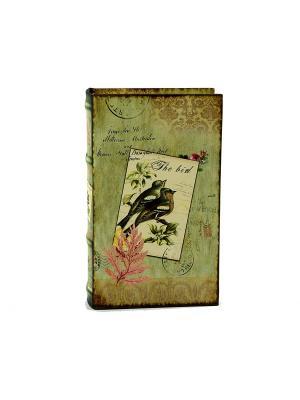 Шкатулка-фолиант Птицы 21*13*5см Русские подарки. Цвет: серо-зеленый, светло-коричневый