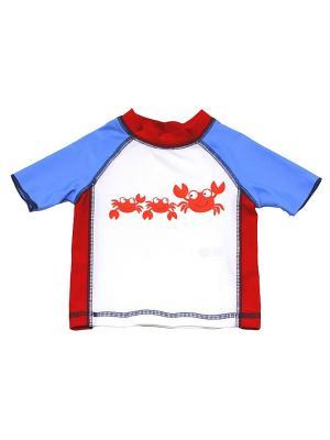 Футболка пляжная Краб Little Me. Цвет: белый, синий, красный