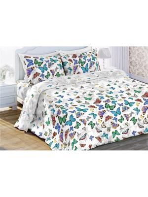 Комплект постельного белья 1,5 бязь  Бабочки Любимый Дом. Цвет: белый