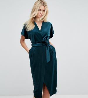 Closet London Бархатное платье с запахом и широкими рукавами Premium. Цвет: зеленый