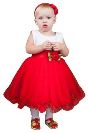 Контрастное платье с пышной юбкой и аппликацией в виде цветка BOOM. Цвет: красный