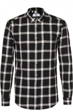 Хлопковая рубашка в клетку с воротником кент MSGM. Цвет: черный