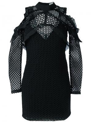 Приталенное платье с вырезами за плечах Self-Portrait. Цвет: чёрный