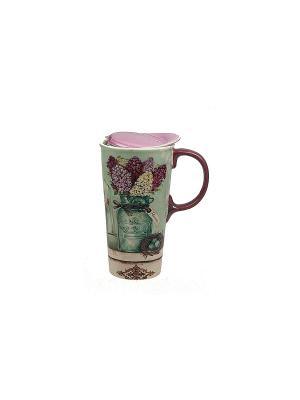 Кружка для чая/кофе Гиацинты термо Русские подарки. Цвет: бежевый, бордовый