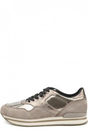 Комбинированные кроссовки на платформе Hogan. Цвет: бронзовый