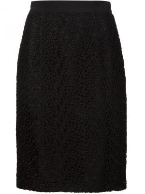 Юбка с цветочной вышивкой Giambattista Valli. Цвет: чёрный