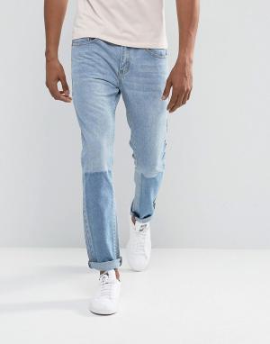 Liquor N Poker Узкие джинсы с лоскутным эффектом. Цвет: синий