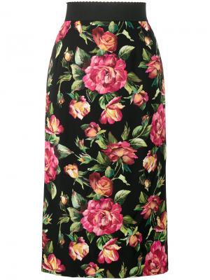 Юбка-карандаш с цветочным принтом Dolce & Gabbana. Цвет: чёрный