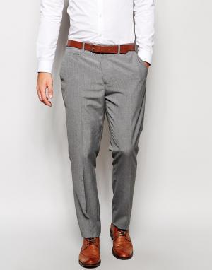 ASOS Серые строгие узкие брюки для офиса. Цвет: серый