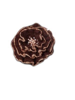 Брошь Шоколадно-золотой мак расшитый бисером, натуральным жемчугом и бусинами Swarovski SEANNA. Цвет: коричневый