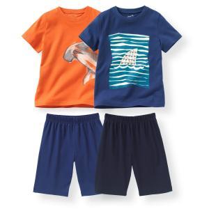 2 пижамы с шортами из хлопка 2-12 лет La Redoute Collections. Цвет: оранжевый + синий