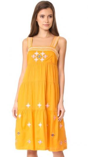 Платье Primrose с вышивкой Madewell. Цвет: вольфрамовое сияние
