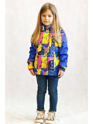 Куртка Oldos. Цвет: синий,розовый