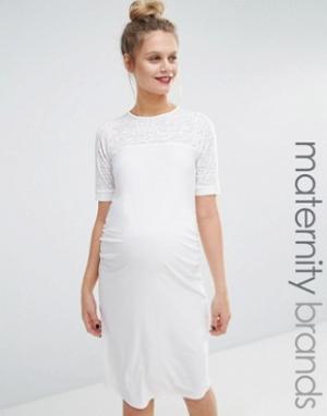 Bluebelle Maternity Облегающее платье для беременных. Цвет: кремовый