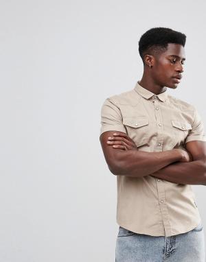 Brave Soul Рубашка с короткими рукавами и двумя карманами. Цвет: светло-бежевый