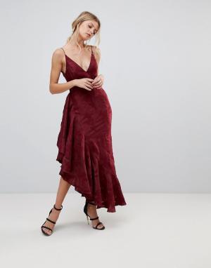 C/meo Collective Платье миди с оборками Ember. Цвет: красный