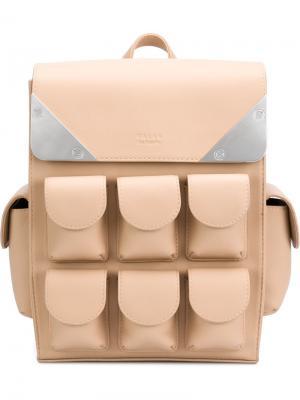 Маленький рюкзак с несколькими отделениями Valas. Цвет: телесный